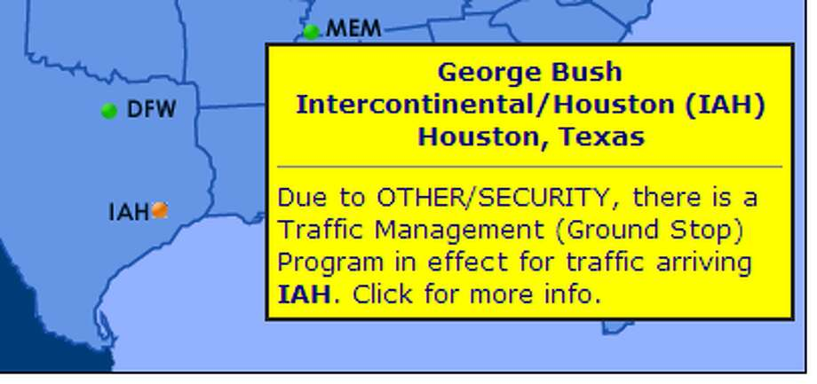 The FAA has issued a full ground stop at Bush Airport. http://www.fly.faa.gov/flyfaa/usmap.jsp