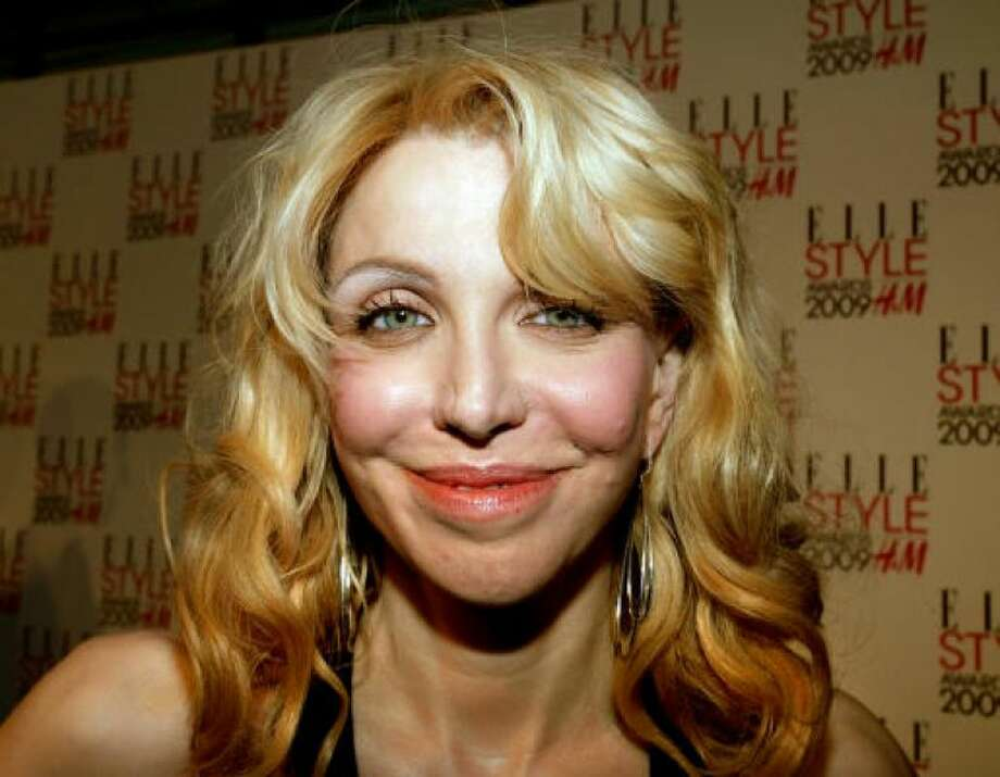 Courtney Love's face seems to be stretched to within an inch of its life. Photo: Getty