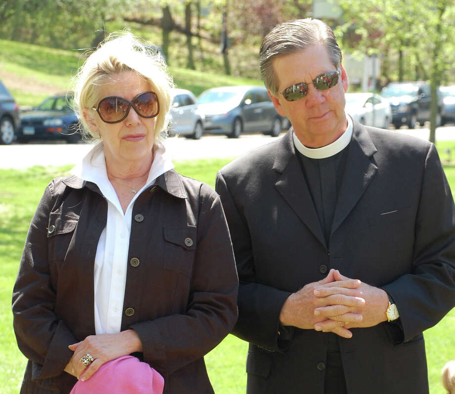 Rev. Paul Teske of St. Paul's Lutheran CHurch and wife Rivers helped lead the National Day of Prayer program Thursday on Veterans Green. Photo: Jarret Liotta / Westport News contributed