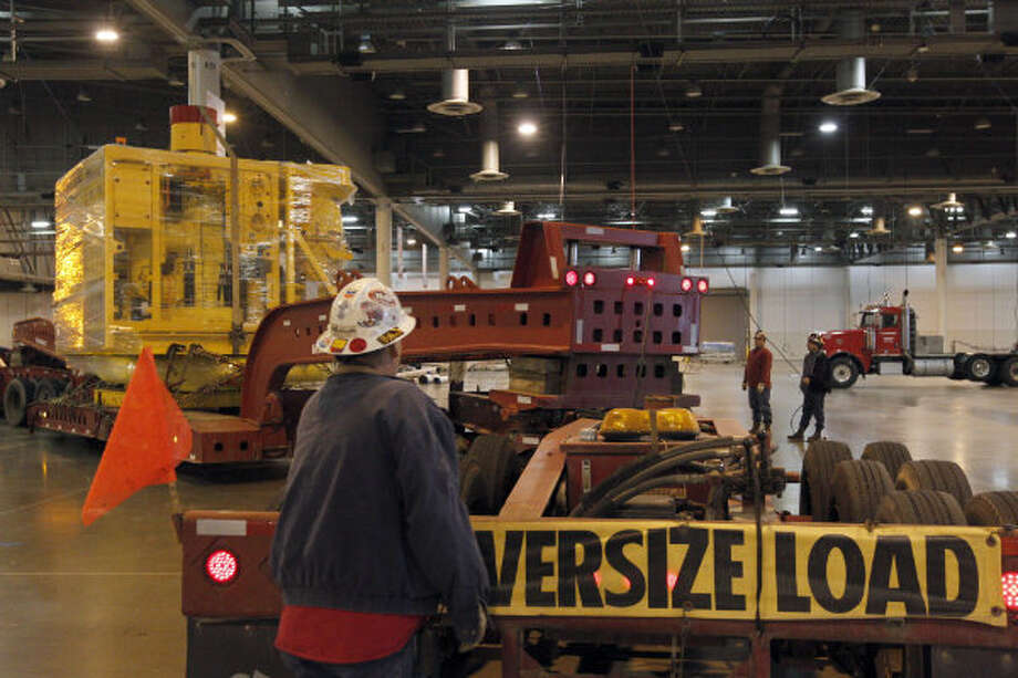 FMC Technologies moved its 118,000-pound subsea tree into the Reliant Center last week for display during the Offshore Technology Conference. OTC, which will run May 6 to May 9, attracts more than 80,000 attendees from more than 110 countries. Subsea trees are structures that control the flow of oil and gas to and from subsea wells.
