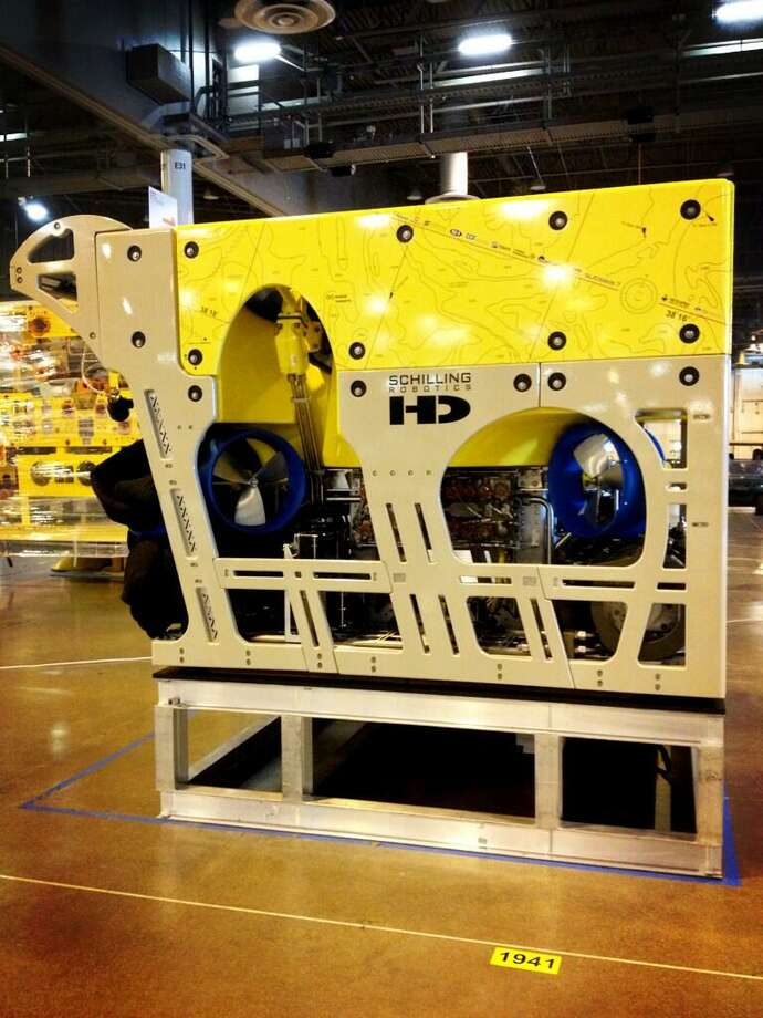 @findmeagan via Twitter: HD ROV in place. My work here is done for day. @FMC_Tech  #OTCHOUSTON  #FMCSchillingRobotics