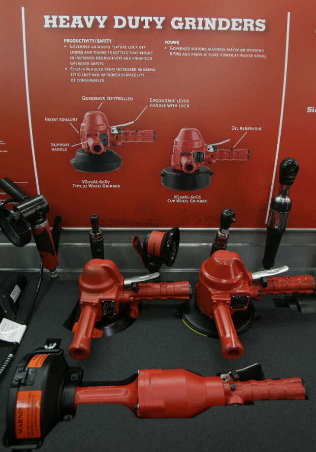 Heavy duty grinders are shown inside the Snap-on mobile advance technology lab during a demonstration at NOV Wilson Distribution Center, 12000 West Little York Road, Thursday, April 25, 2013, in Houston. Snap-on Industrial is making a major push into the oil and natural gas markets by introducing several new tools and equipment to these industries. Snap-on is launching these new tools in a national tour. NOV Wilson is a large distributor of products aimed at the maintenance activities for the oil, drilling and natural gas industries.