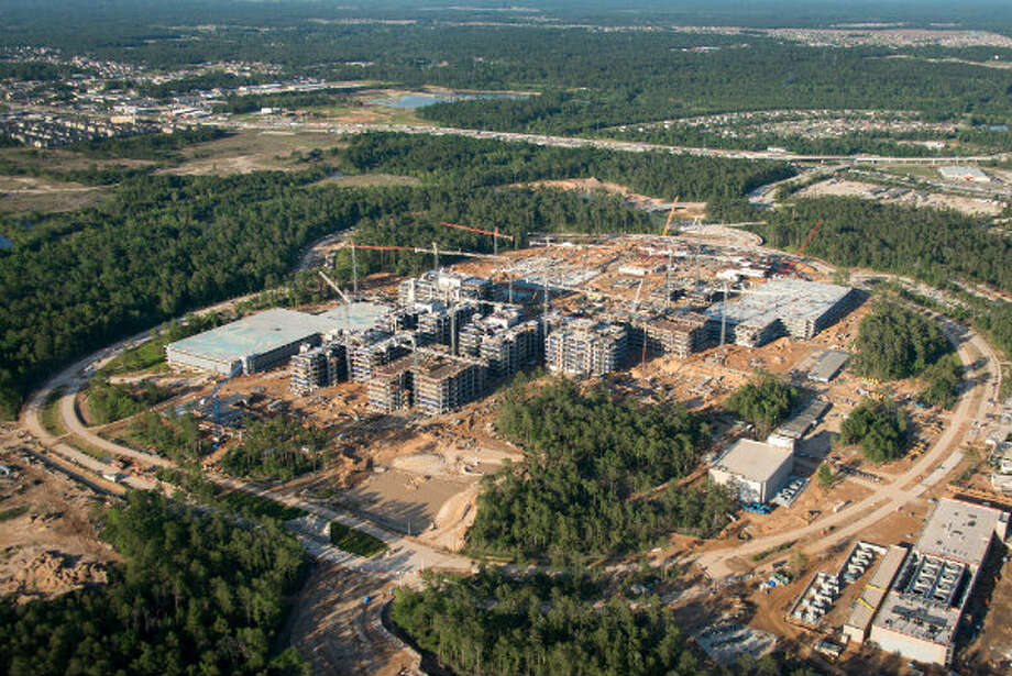 April 2013: The new Exxon Mobil corporate campus under construction near The Woodlands is seen on Thursday, April 11, 2013. The new development is near Interstate 45 and the Hardy Toll Road. In total, the complex will house 10,000 people when it opens in 2015.