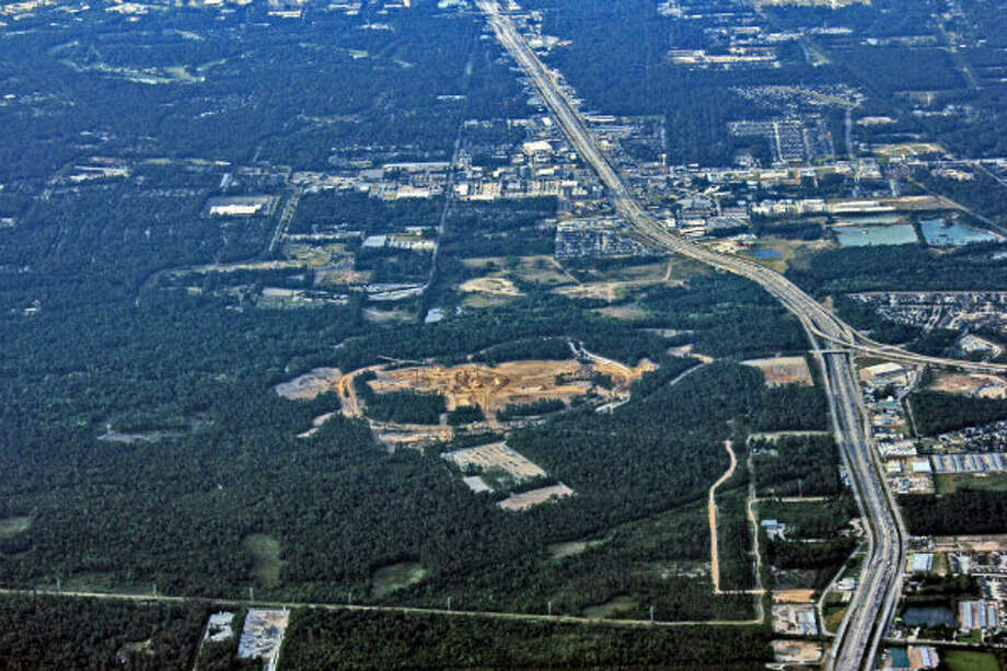June 2011: An aerial photo of the Exxon Mobil campus site at Interstate 45 North and Hardy Toll Road.