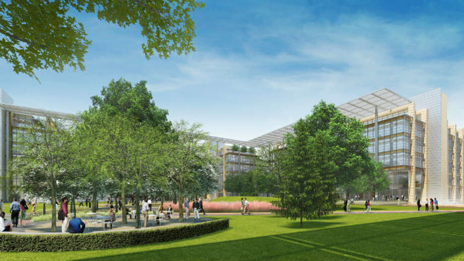 This computer-generated image illustrates several office buildings and an employee gathering area that will be part of ExxonMobil's new office campus announced Tuesday, June 7. The complex will be located in north Houston on a 385-acre wooded site near the intersection of I-45 and the Hardy Toll Road.
