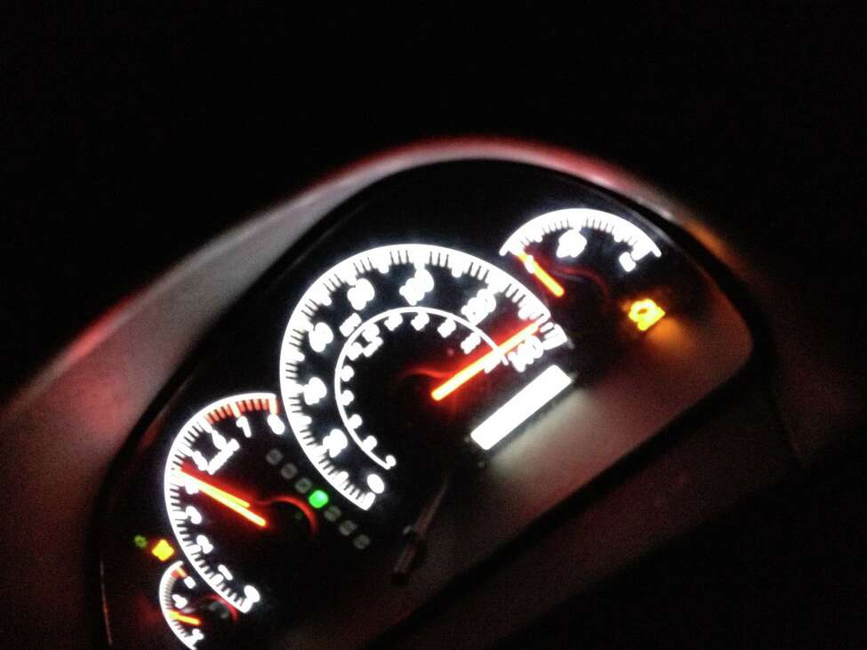 This is a photo of a speedometer hitting 130 mph in a car Anton Hawkins was driving when the car flipped on the Northway in November, injuring the passengers. (Saratoga County District Attorney's office)