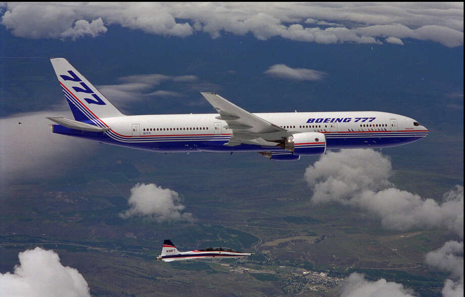 The first Boeing 777 makes its first flight, on June 12, 1994.  Photo: Associated Press / BOEING