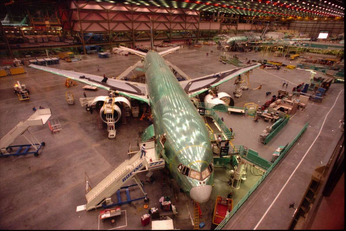 This March 1994 photo shows a Boeing 777 on the assembly line at the company's Everett, Wash. plant.
