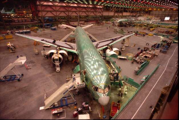 A Boeing 777 on the assembly line at the company's Everett plant.