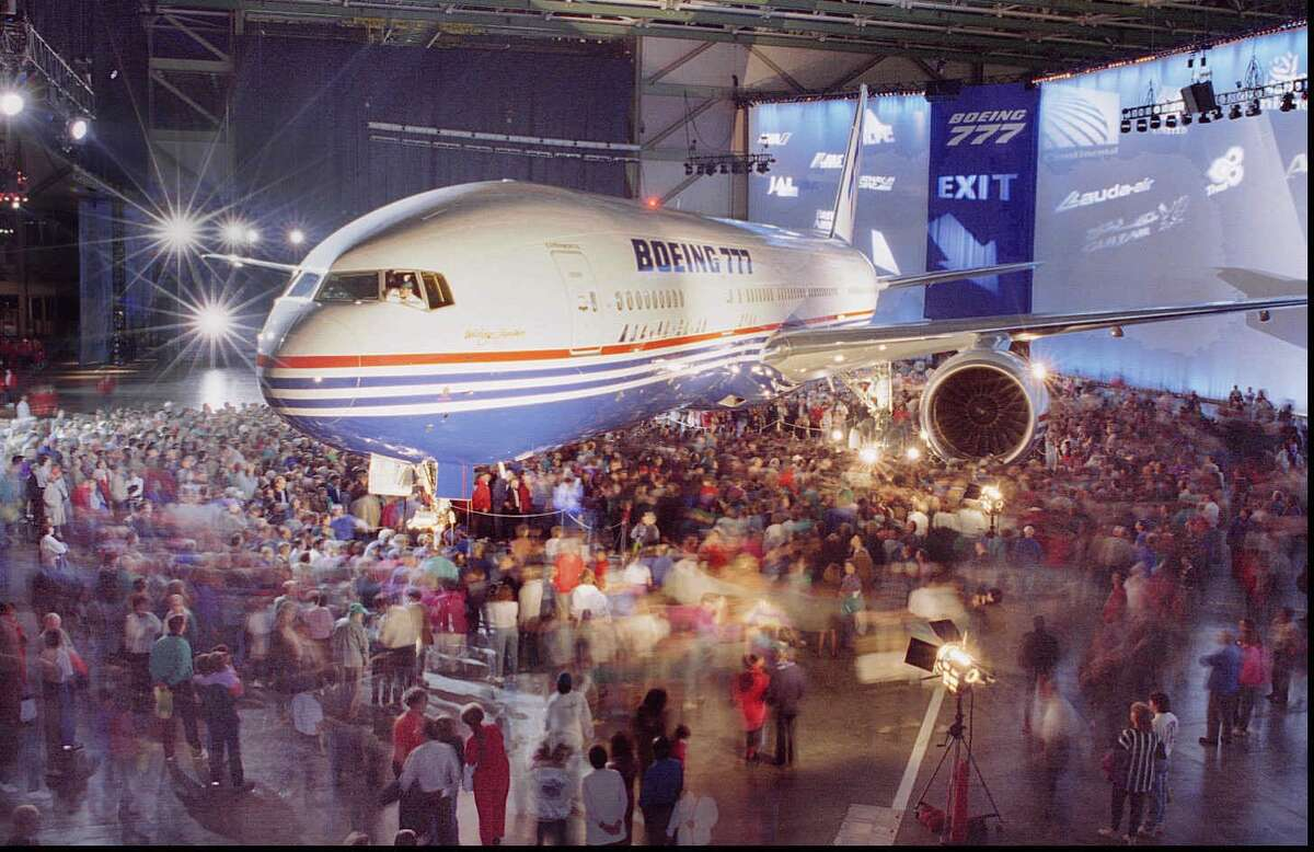 Boeing rolls out the first 777, on April 9, 1994.