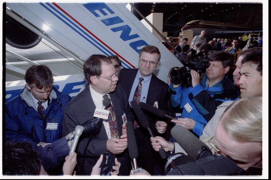 Boeing President Phil Condit talks to the press in April 1995, after the Federal Aviation Administration certified the Boeing 777. Photo: Phil Webber, Seattlepi.com File