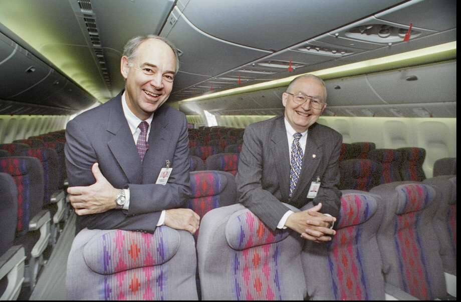 Bob Fisher, Boeing superintendent-777 Final Assembly and  Field, left, and Gordon McKinzie, United Airlines 777 program manager, show off  the new interior of United's new Boeing 777 on Oct. 5, 1994. Photo: Grant M. Haller, Seattlepi.com File