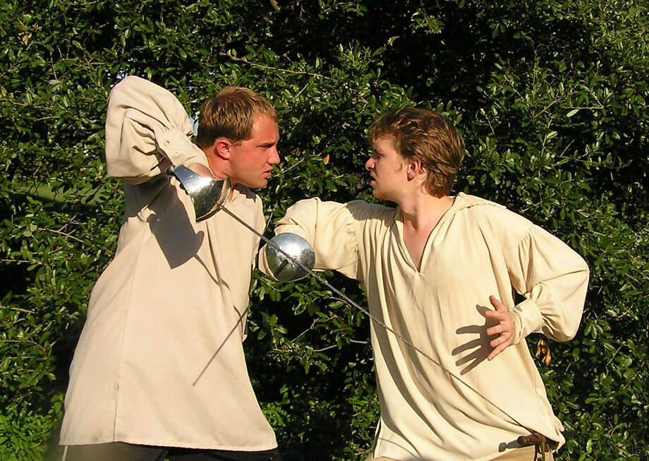 "Brendan Spieth (right) played Hamlet to Jared Stephens' Laertes in a 2007 production of ""Hamlet."" Photo: File Photo"