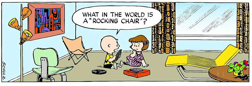 In a 1953 panel, Charlie Brown is surrounded by an Eames chair, Barwa lounger and Abstract Expressionist painting.