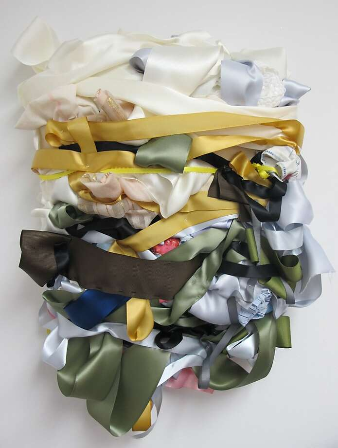 """Cake Mold"" (2011), ribbon and clothing by Vadis Turner, is a discovery at the ""Off the Wall"" show. Photo: Unknown"