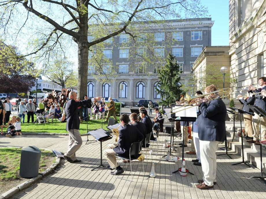 The Greenwich High School Jazz Ensemble performs during the opening night of Art to the Avenue, Thursday, May 2, 2013. More than 150 artists will display artworks at local stores and businesses through May 27. All art is for sale. A portion of sales is tax deductible and benefits the Greenwich Arts Council. For a map of artists and their locations, visit www.greenwich arts.org. Photo: Bob Luckey / Greenwich Time