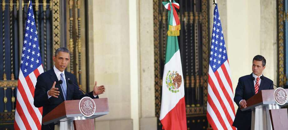 During a joint news conference with Mexican President Enrique Peña Nieto at the National Palace in Mexico City, President Barack Obama tries to keep the focus on the countries' economic relationship. Photo: Mandel Ngan / Getty Images