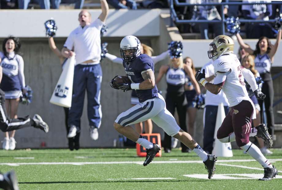 Matt Austin, wide receiver (pictured at center) College: Utah State | Height: 6-foot-2 | Weight: 202 pounds  A transfer from junior college, Austin suffered a season-ending knee injury in his redshirt junior year in 2010. He bounced back in 2011, playing in all 13 games and starting eight. As a junior, he had six touchdowns and 465 yards on 34 receptions, and in 2012 he caught five TDs and put up 729 yards on 48 receptions. At Utah State's pro day in March, Austin ran the 40-yard dash in 4.49 seconds.