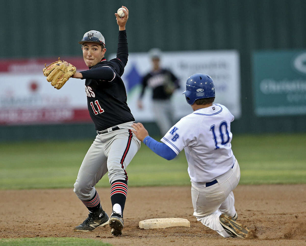 Jase Kirksey, who had a multi-hit game for Churchill, turns a double play. The Chargers will face either Taft or Corpus Christi Carroll next.