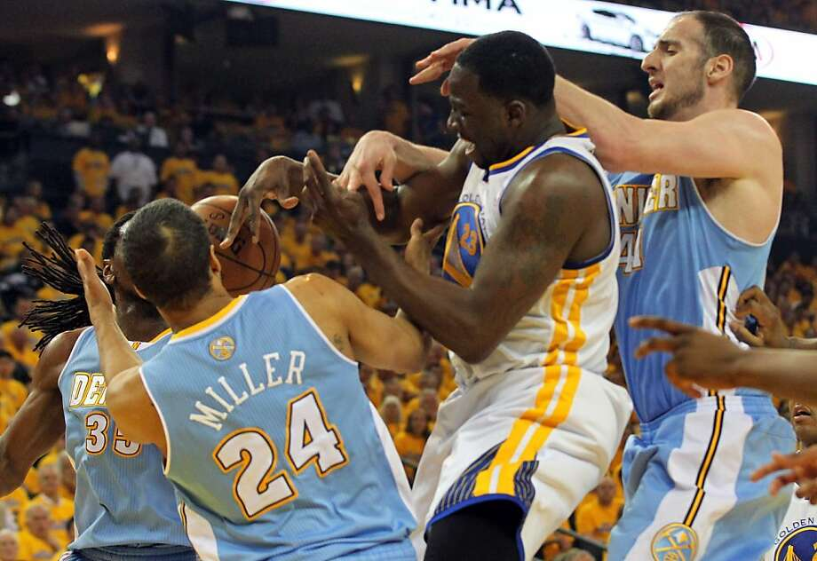 Draymond Green of the Golden State Warriors fights the Denver Nuggets for a rebound in Game 6 of the first round of the NBA playoffs at Oracle Arena in Oakland, Calif., on Thursday, May 2, 2013. Photo: Lance Iversen, The Chronicle