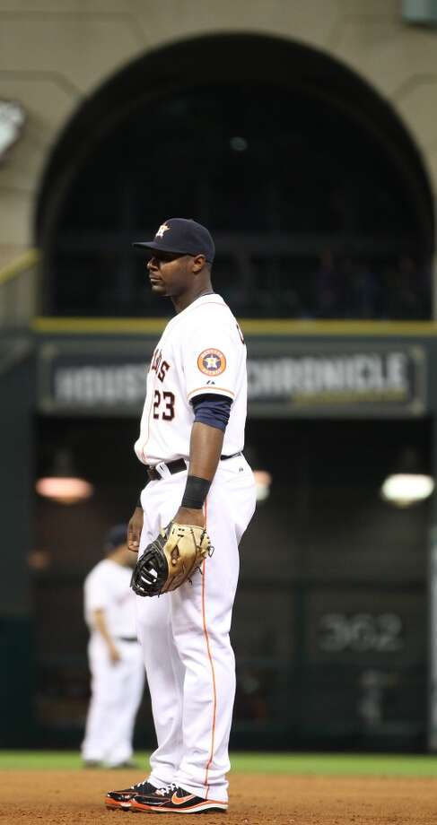 Astros left fielder Chris Carter started at first base for the first time this season. Photo: Karen Warren, Houston Chronicle