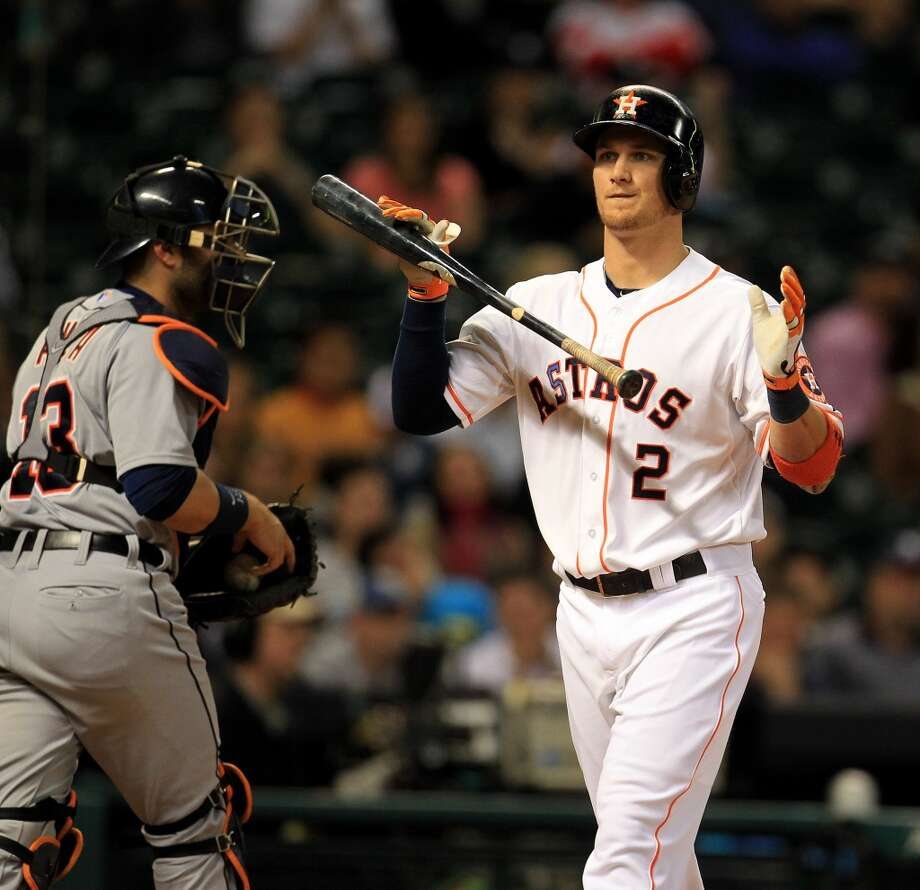 Astros right fielder Brandon Barnes reacts to striking out in the tenth inning. Photo: Karen Warren, Houston Chronicle