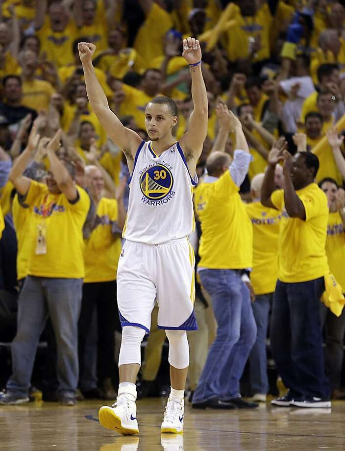 Golden State Warriors' Stephen Curry celebrates at the end of Game 6 in a first-round NBA basketball playoff series against the Denver Nuggets on Thursday, May 2, 2013, in Oakland, Calif. The Warriors won 92-88. (AP Photo/Ben Margot) Photo: Ben Margot, Associated Press