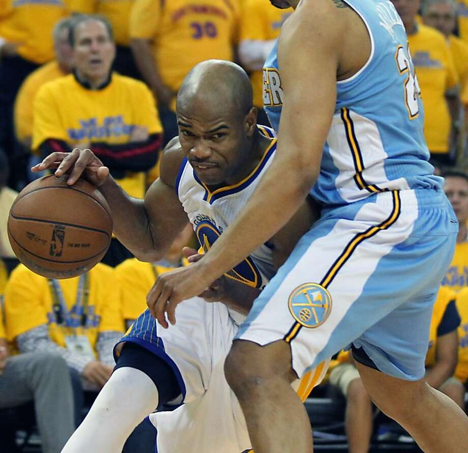 Golden State Warriors Jarrett Jack (2) drives past Denver Nuggets Andre Miller (24) in the second half of Game 6 of the first round of the NBA playoffs at Oracle Arena in Oakland, Calif., on Thursday, May 2, 2013. Warriors won 92-88 Photo: Lance Iversen, The Chronicle