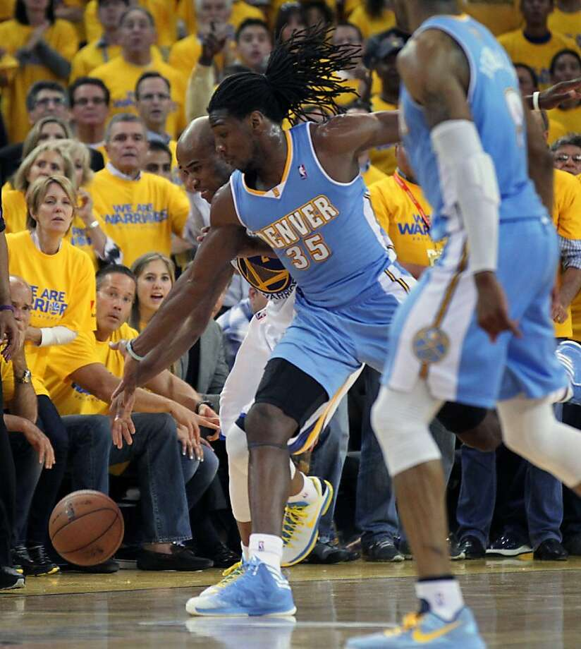 Golden State Warriors Jarrett Jack (2) is fouled by Denver Nuggets Kenneth Faried (35) late into the 4th period of game 6 of the first round of the NBA playoffs at Oracle Arena in Oakland, Calif., on Thursday, May 2, 2013. Warriors won 92-88 Photo: Lance Iversen, The Chronicle