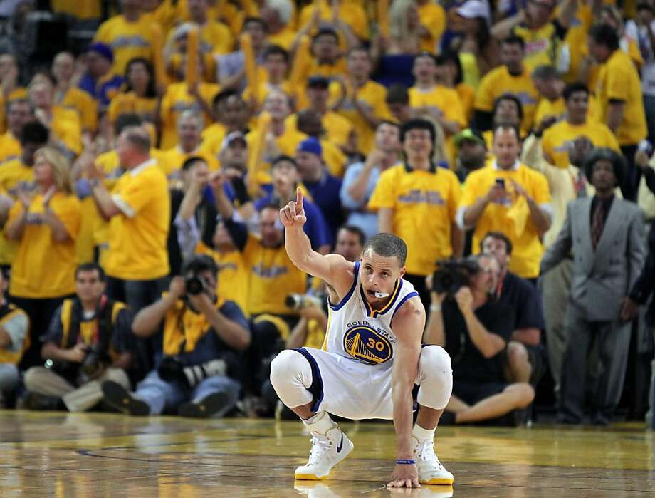 Golden State Warriors guard Stephen Curry points skyword as the final second run off the clock in Game 6 of the first round of the NBA playoffs with the Denver Nuggets in Oakland, Calif., on Thursday, May 2, 2013. Warriors won 92-88 Photo: Lance Iversen, The Chronicle