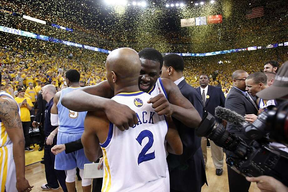 Jarrett Jack hugs Draymond Green after the Warriors defeated the Nuggets, advancing to the next round of the playoffs on Thursday. The Golden State Warriors played the Denver Nuggets in Game 6 of the first round of the NBA playoffs at Oracle Arena in Oakland, Calif., on Thursday, May 2, 2013. Photo: Carlos Avila Gonzalez, The Chronicle