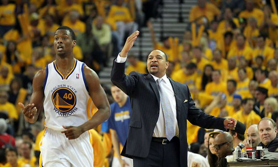 Golden State Warriors Head Coach Mark Jackson calls out a play in the second half of their game with the Denver Nuggets in Game 6 of the first round of the NBA playoffs at Oracle Arena in Oakland, Calif., on Thursday, May 2, 2013. Warriors won 92-88 Photo: Lance Iversen, The Chronicle