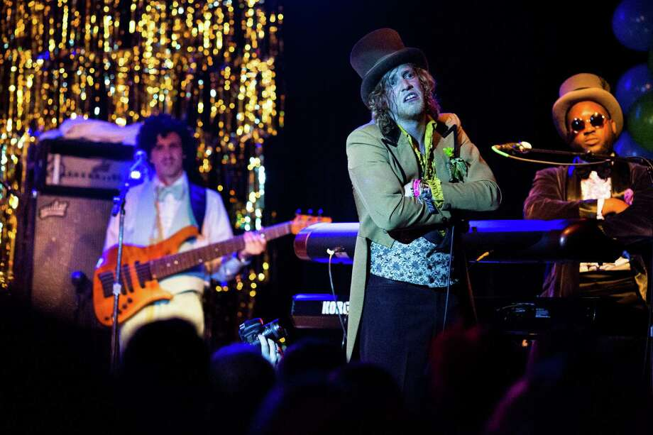 Washington-local soul singer Allen Stone, 25, and his band perform on the first of two nights of his prom-themed concert mini series Thursday, May 2, 2013, at The Crocodile in Seattle. The 2013 Bumbershoot lineup was announced in the middle of Stone's set. The second prom-themed show will take place at The Crocodile on Friday evening. Photo: JORDAN STEAD, SEATTLEPI.COM / SEATTLEPI.COM