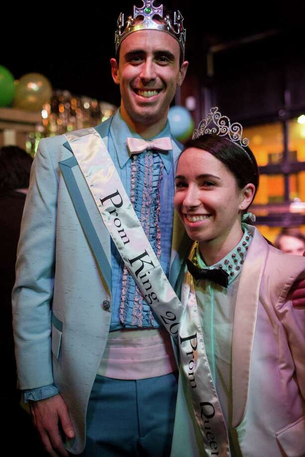 Dave Arensberg, left, and Lyana Jawer, right, were crowned prom king and queen, respectively, at the first of two nights of Allen Stone's prom-themed concert mini series Thursday, May 2, 2013, at The Crocodile in Seattle. The 2013 Bumbershoot lineup was announced in the middle of Stone's set. The second prom-themed show will take place at The Crocodile on Friday evening. Photo: JORDAN STEAD, SEATTLEPI.COM / SEATTLEPI.COM