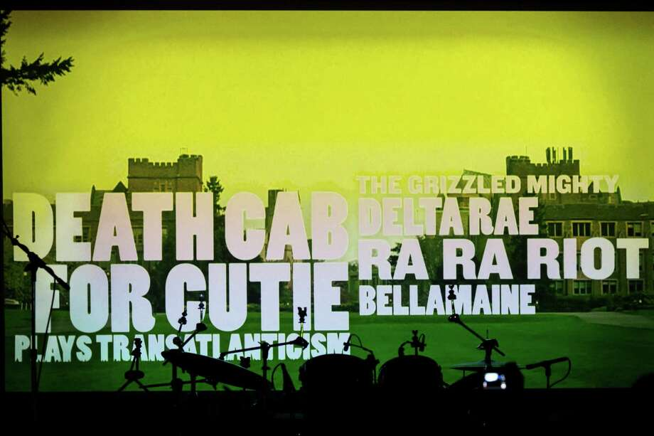 Screengrabs from Bumbershoot's 2013 lineup video that aired at Allen Stone's prom-themed concert mini series Thursday, May 2, 2013, at The Crocodile in Seattle. Photo: JORDAN STEAD, SEATTLEPI.COM / SEATTLEPI.COM