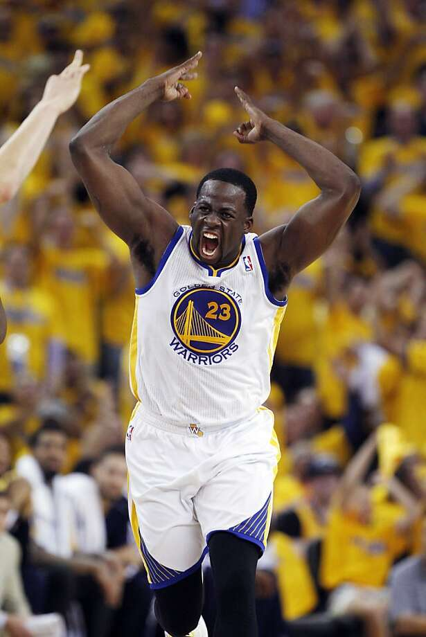 Draymond Green celebrates his three point shot in the second half of the game on Thursday. The Golden State Warriors played the Denver Nuggets in Game 6 of the first round of the NBA playoffs at Oracle Arena in Oakland, Calif., on Thursday, May 2, 2013. Photo: Carlos Avila Gonzalez, The Chronicle