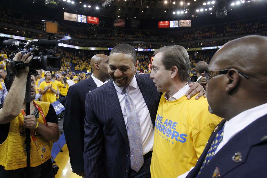 Warriors Head Coach Mark Jackson hugs owner Joe Lacob after the Warriors defeated the Nuggets, advancing to the next round of the playoffs on Thursday. The Golden State Warriors played the Denver Nuggets in Game 6 of the first round of the NBA playoffs at Oracle Arena in Oakland, Calif., on Thursday, May 2, 2013. Photo: Carlos Avila Gonzalez, The Chronicle