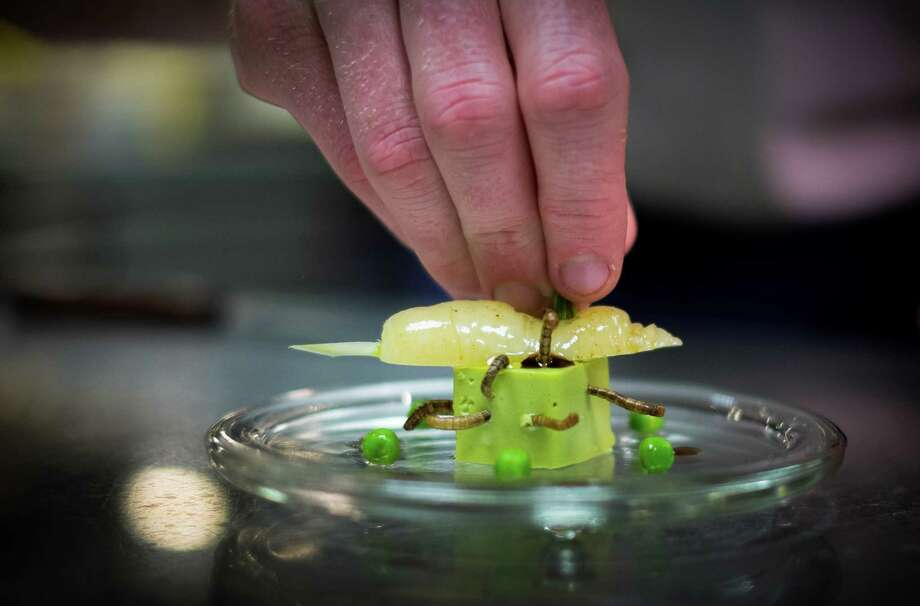 A starter dish of 'Petit pois carre et son ecume de Carottes, vers de farine' - peas, carrots and worms- is prepared by French chef David Faure in his restaurant 'Aphrodite' in Nice on May 2, 2013 in Nice, France. Crickets and worms as produce for culinary requirements cost up to 1250 euros per kilogramme on May 2, 2013 in Nice, France. Faure's restaurant, renowned for it's innovative and inventive cuisine, has been awarded one star in the Michelin Guide. Photo: Didier Baverel, Getty / 2013 Didier Baverel