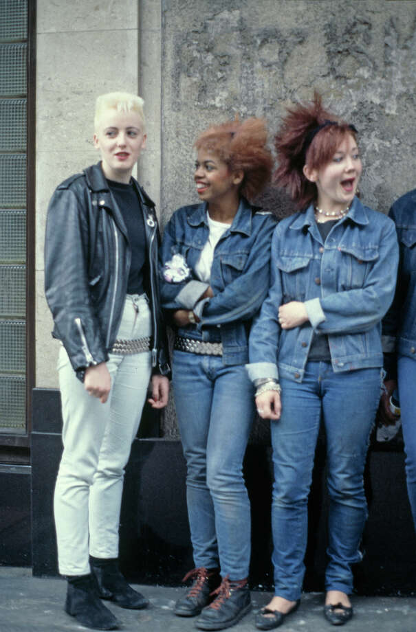 Three teenage girls wearing post punk fashions, 1980. Photo: Caroline Greville-Morris, Redferns / 2012 Caroline Greville-Morris