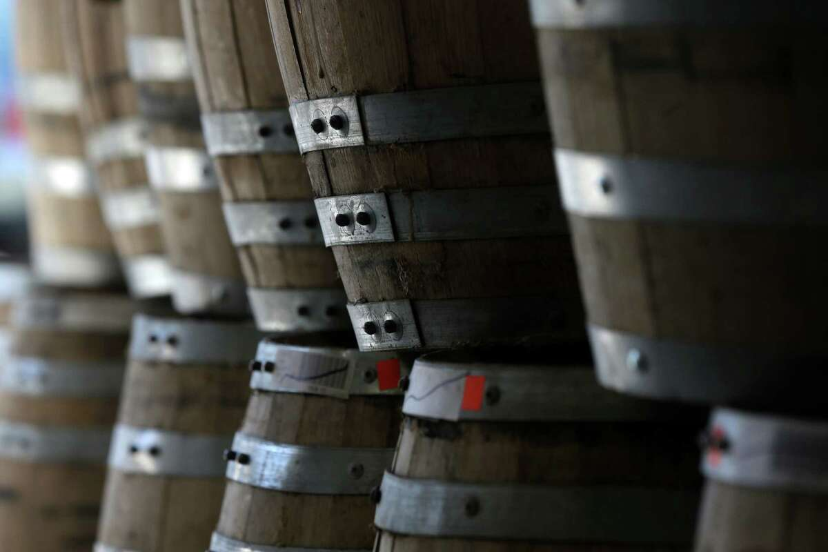Barrels of baby bourbon are stacked at Tuthilltown Spirits on Wednesday, April 17, 2013, in Gardiner, N.Y. Some call it Ã'Â