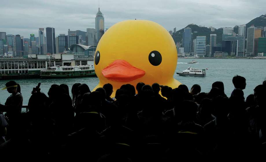 A 16.5-meter(650-inch)-high giant Rubber Duck created by Dutch artist Florentijn Hofman is towed along Hong Kong's Victoria Habour Thursday, May 2, 2013. Since 2007 the Rubber Duck has traveled to various cites including Osaka, Sydney, Sao Paulo and Amsterdam. Photo: Vincent Yu, AP / AP