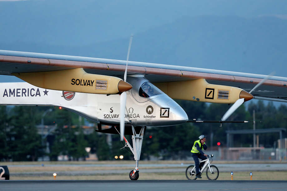 Pilot Bertrand Piccard takes off in the Solar Impulse solar electric airplane at Moffett Field on May 3, 2013 in Mountain View, California.   Pilots Bertrand Piccard and Andre Borschberg are attempting the first cross-continental flight in a solar powered plane that can travel day and night. Photo: Beck Diefenbach, Getty Images / 2013 Getty Images
