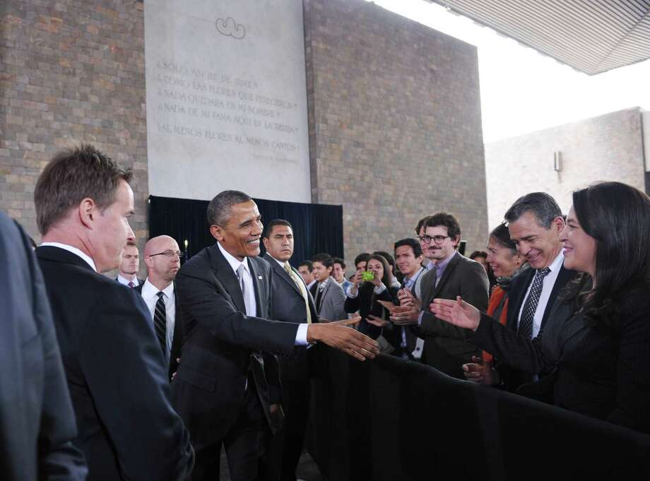 US President Barack Obama greets guests as to speak at the National Anthropology Museum on May 3, 2013 in Mexico City.  AFP PHOTO/Mandel NGANMANDEL NGAN/AFP/Getty Images Photo: MANDEL NGAN, AFP/Getty Images / AFP