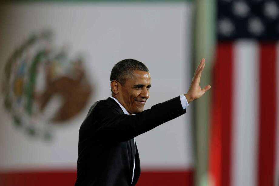 President Barack Obama waves after delivering a speech at the Anthropology Museum in Mexico City, Mexico, Friday, May 3, 2013. (AP Photo/Dario Lopez-Mills) Photo: Dario Lopez-Mills, Associated Press / AP