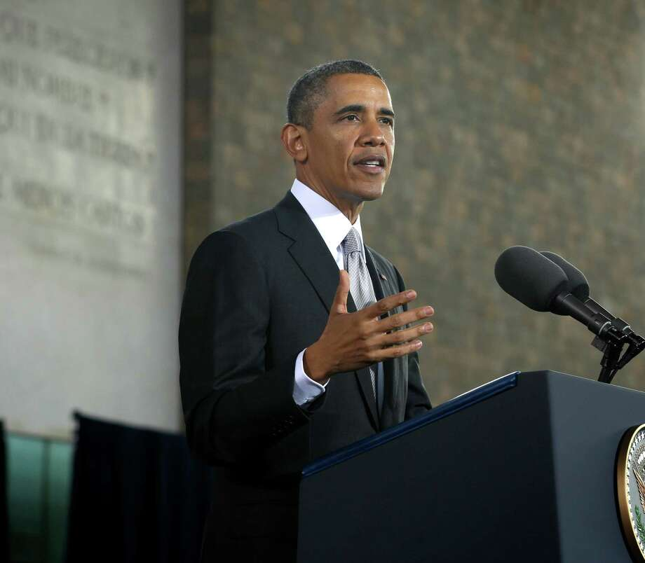 US President Barack Obama gestures as he speaks at the Anthropology Museum in Mexico City, Friday, May 3, 2013. (AP Photo/Pablo Martinez Monsivais) Photo: Pablo Martinez Monsivais, Associated Press / AP
