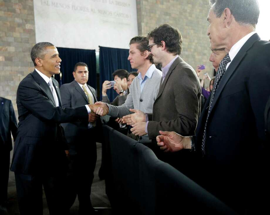 US President Barack Obama greets guests before speaking at the Anthropology Museum in Mexico City, Friday, May 3, 2013. (AP Photo/Pablo Martinez Monsivais) Photo: Pablo Martinez Monsivais, Associated Press / AP