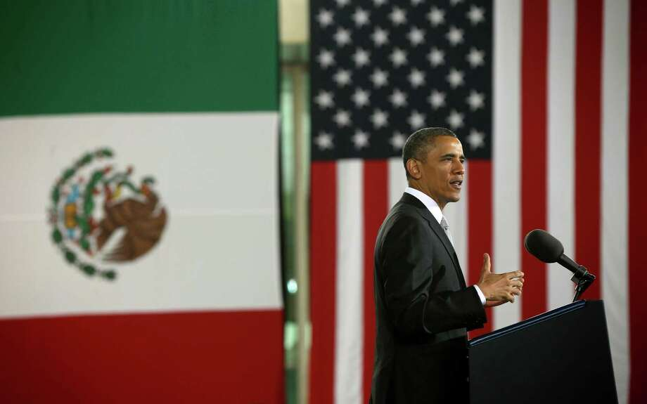 US President Barack Obama speaks at the Anthropology Museum in Mexico City, Friday, May 3, 2013. (AP Photo/Pablo Martinez Monsivais) Photo: Pablo Martinez Monsivais, Associated Press / AP
