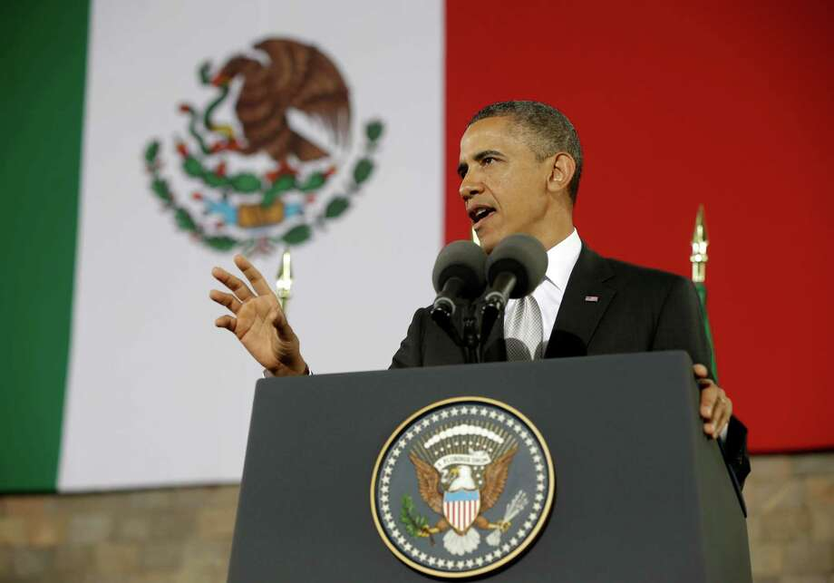 US President Barack gestures as he speaks at the Anthropology Museum in Mexico City, Friday, May 3, 2013. (AP Photo/Pablo Martinez Monsivais) Photo: Pablo Martinez Monsivais, Associated Press / AP
