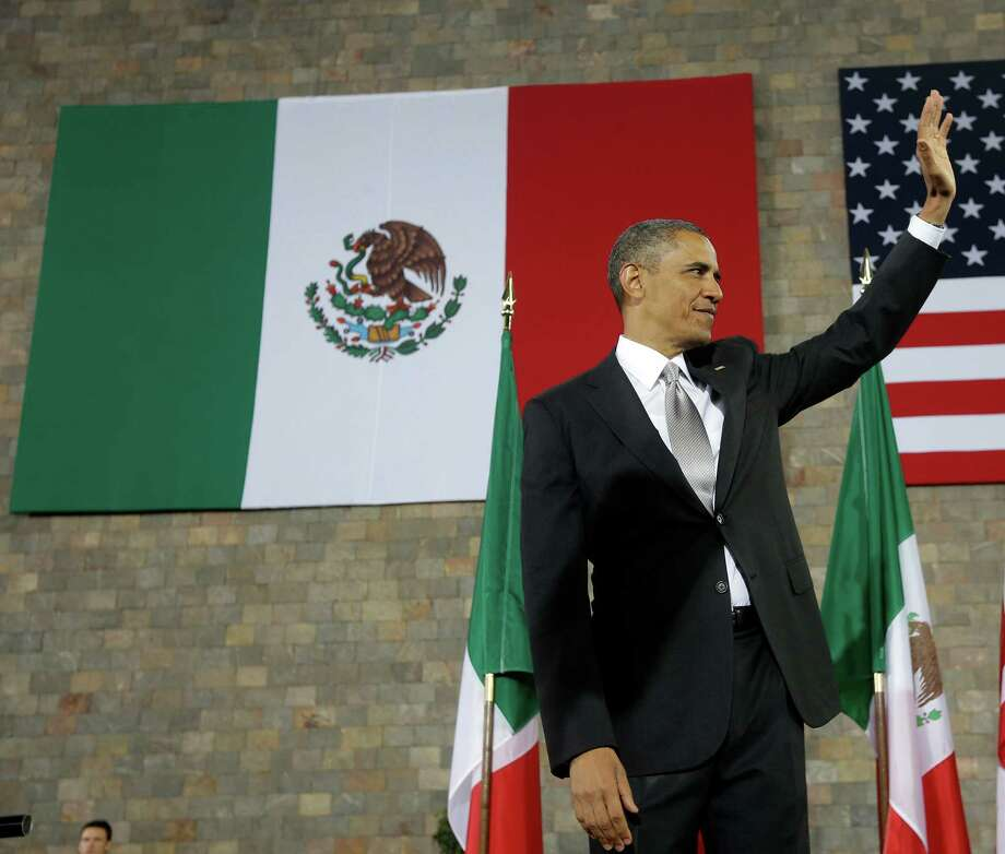 US President Barack Obama waves after speaking at the Anthropology Museum in Mexico City, Friday, May 3, 2013. (AP Photo/Pablo Martinez Monsivais) Photo: Pablo Martinez Monsivais, Associated Press / AP