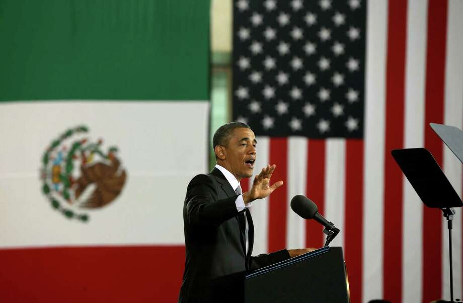 US President Barack Obama gestures as speaks at the Anthropology Museum in Mexico City, Friday, May 3, 2013. (AP Photo/Pablo Martinez Monsivais) Photo: Pablo Martinez Monsivais, Associated Press / AP